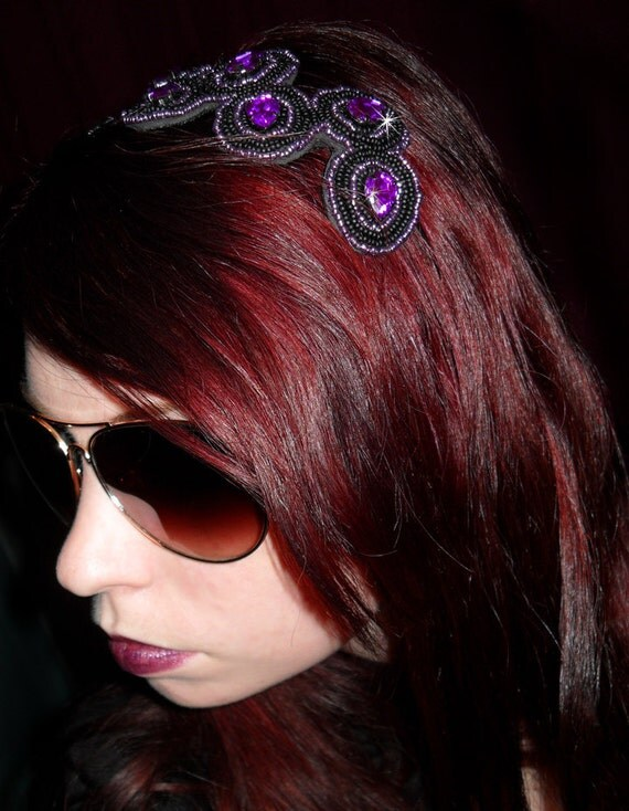 Black and Purple Headband - $34.95