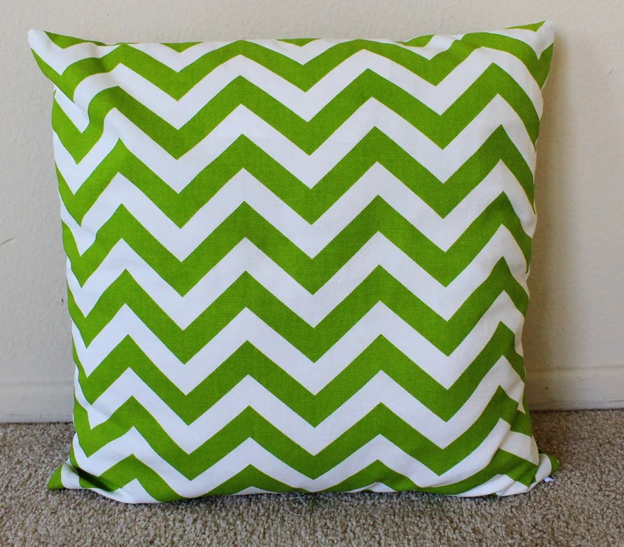 Green Chevron Decorative Pillow Cover