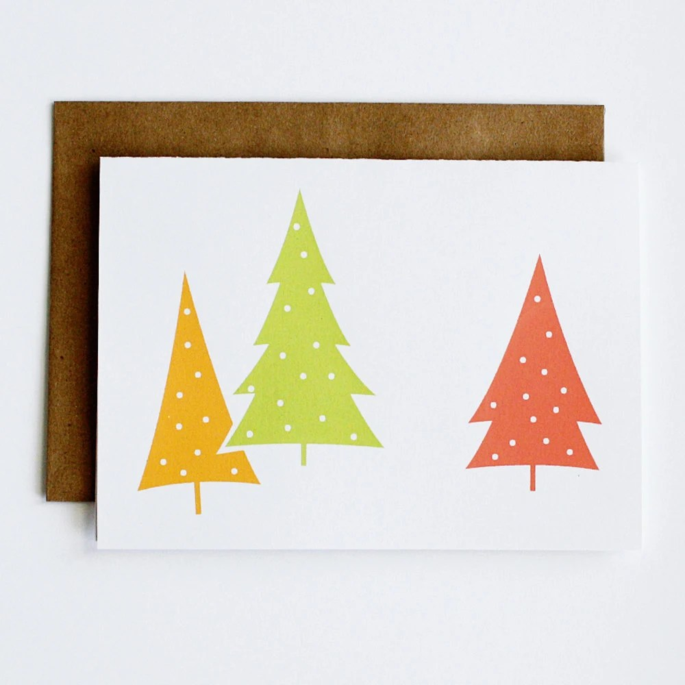 The Perfect Tree screenprinted holiday cards