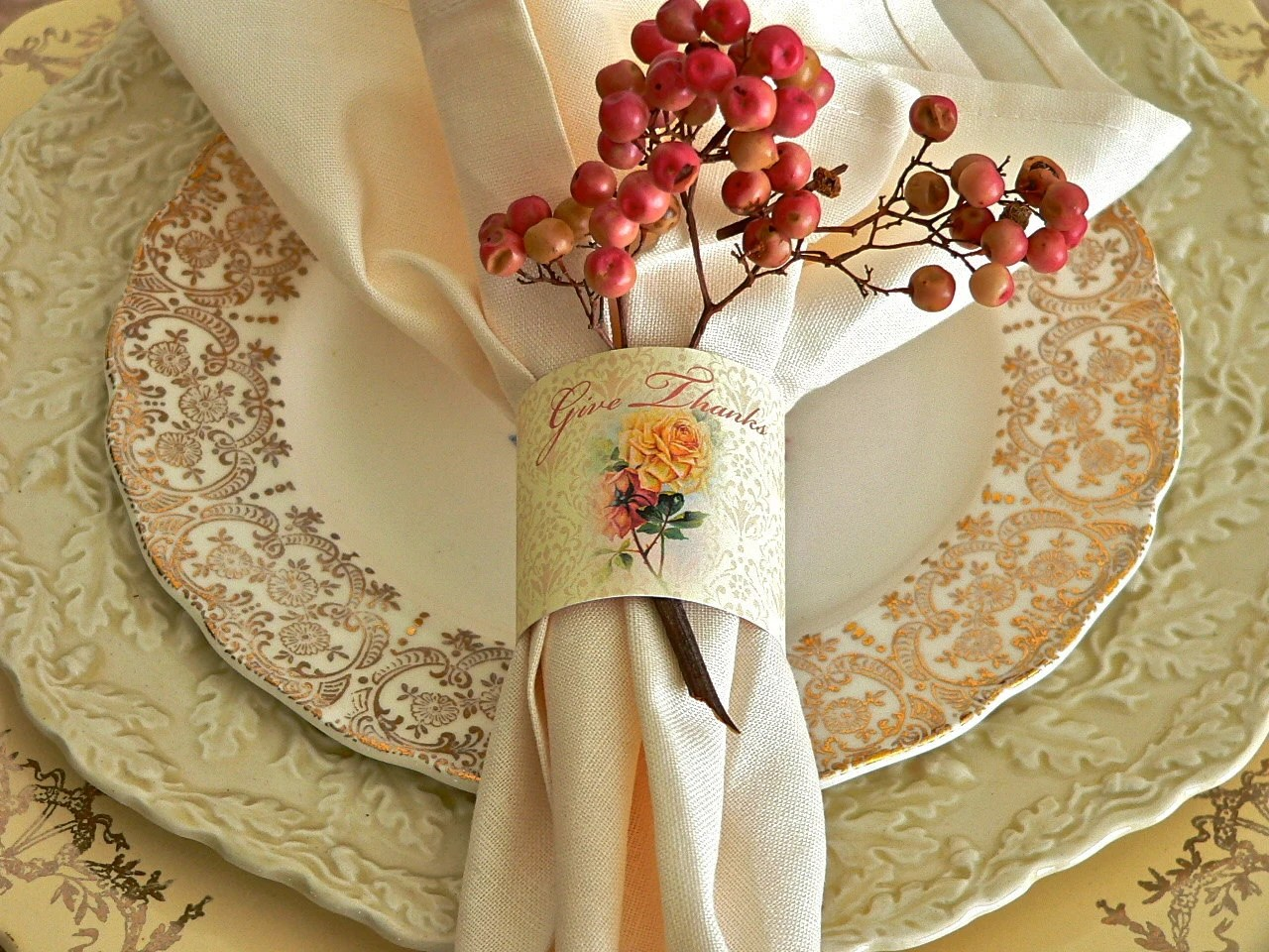 Thanksgiving Napkin Rings Yellow and Peach Roses Give Thanks
