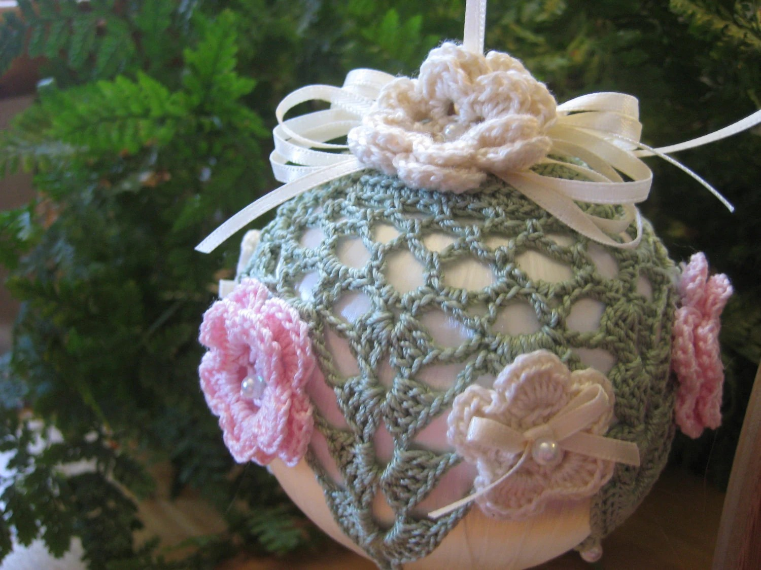 Handmade Crochet Lace Flowers and Ribbon Christmas Ornament