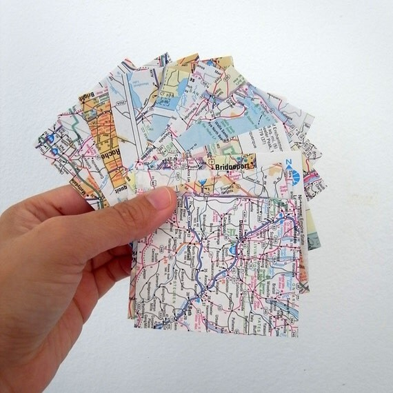 15 upcycle recycle map from ols map road atlas small bag flat envelopes 7.5cmX6.35cm