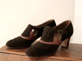 Vintage 1930s Shoes Brown Suede Orange Leather