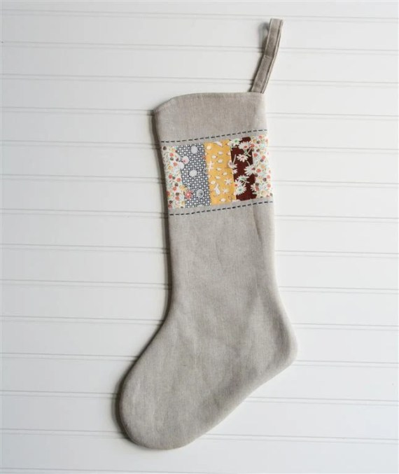 Christmas Stocking - linen patchwork 3