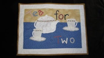 Tea For Two- Appliqued Wall Hanging Quilt
