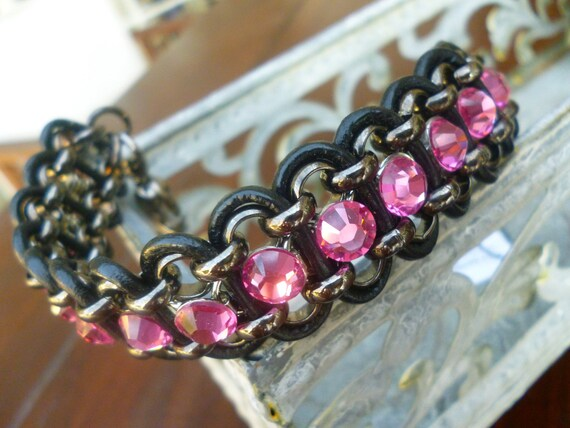 "Swarovski Crystal Rose Pink Rhinestone Black Leather Dog Collar Necklace size 8""-9"""