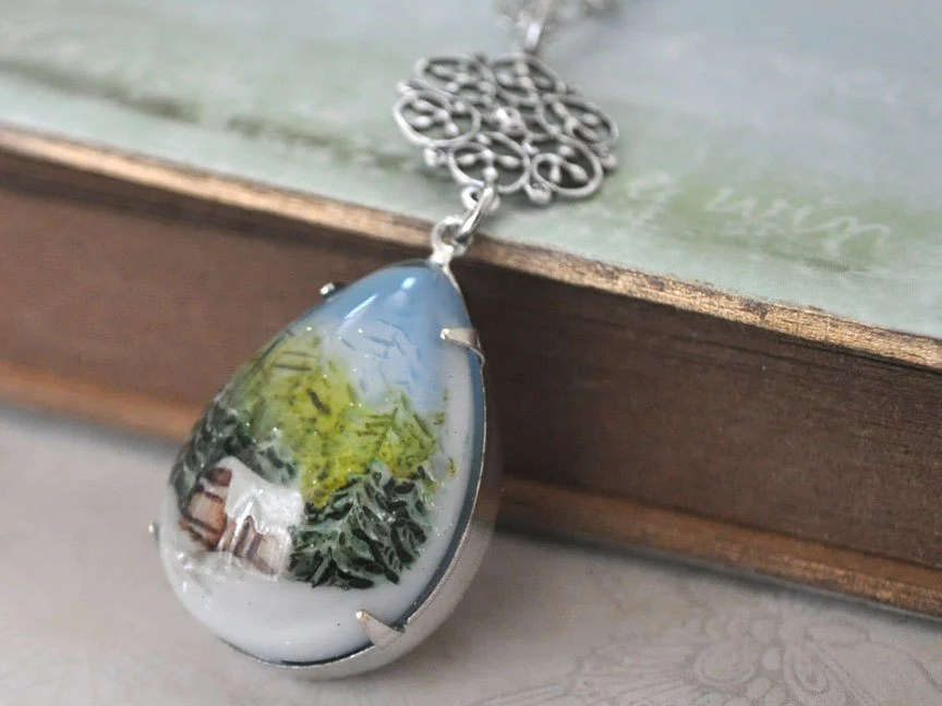 SNOW GLOBE, vintage style hand painted forest and snow resin pear shaped necklace in antique silver