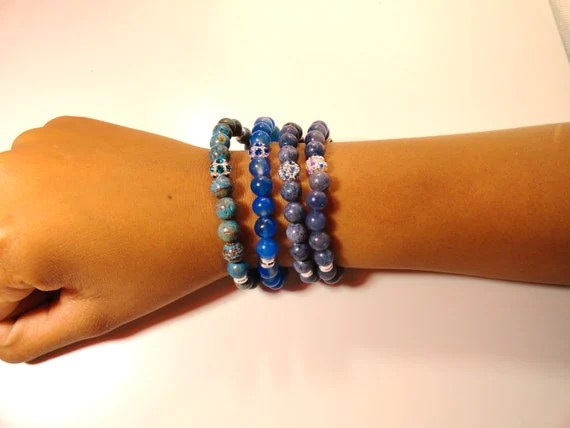 Blues No More Stretch Gemstone Bracelet