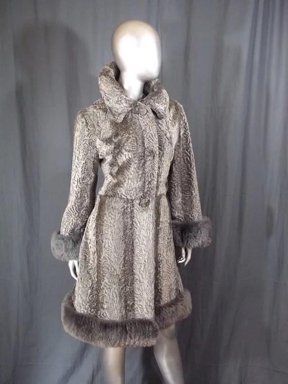 70s Faux Fur Coat SIlver Grey Mouton Fur Trim