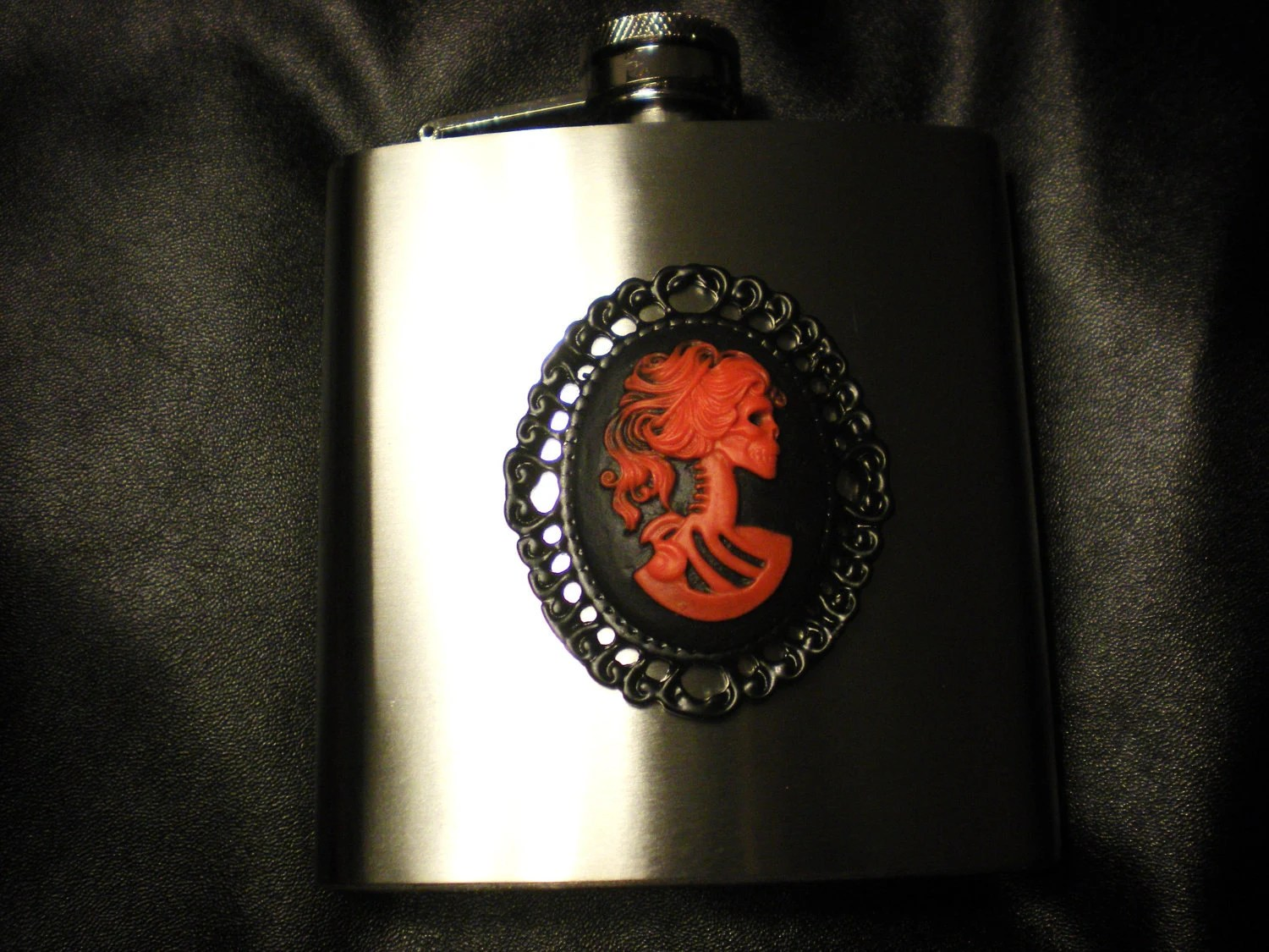 Red Skeleton Flask -cameo