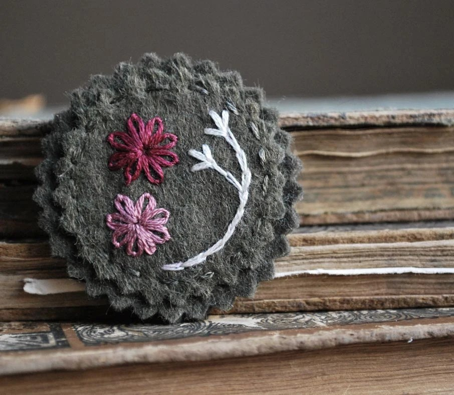 Felt Brooch Pin Hand Embroidered on Olive Green Wool with Cranberry and Ivory Stitching by love maude