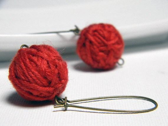 RED wool yarn beads earrings - Tina -  Ready to ship