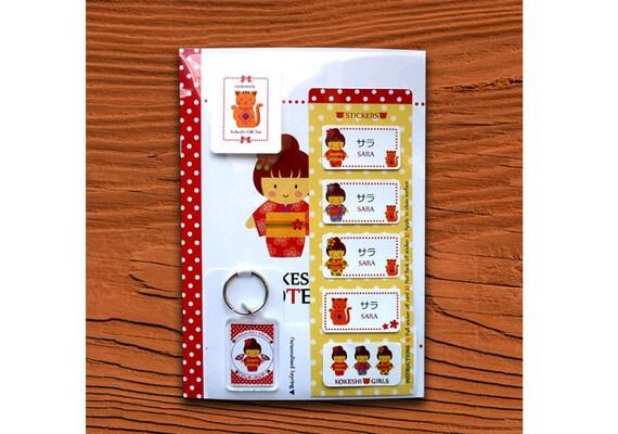 Personalized Japanese Cute Kawaii Kokeshi Stationery Gift Set Keychain Notebook Stickers