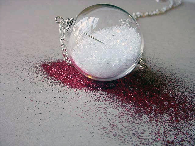 Snow Globe Pendant Hollow Clear Glass Orb With Glitter Snow Christmas Keepsake Gift for Her Under 50 Free Shipping