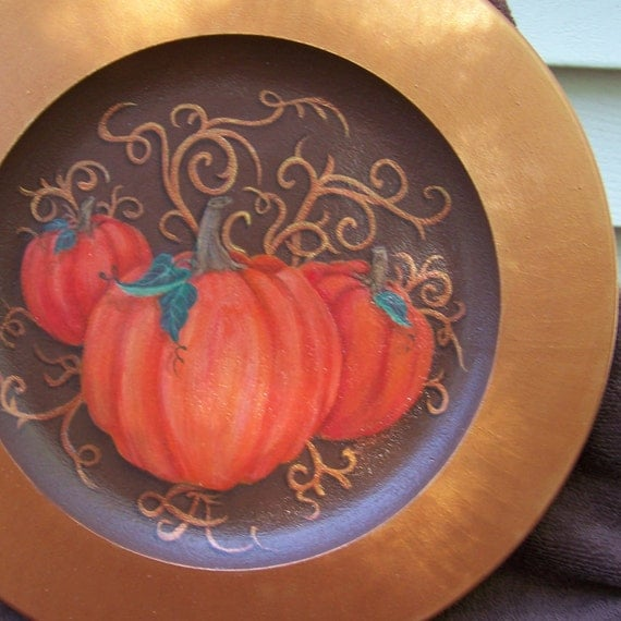 Thanksgiving Plate, hand painted in autumn colors and harvest pumpkins w/ a broad golden copper boarder
