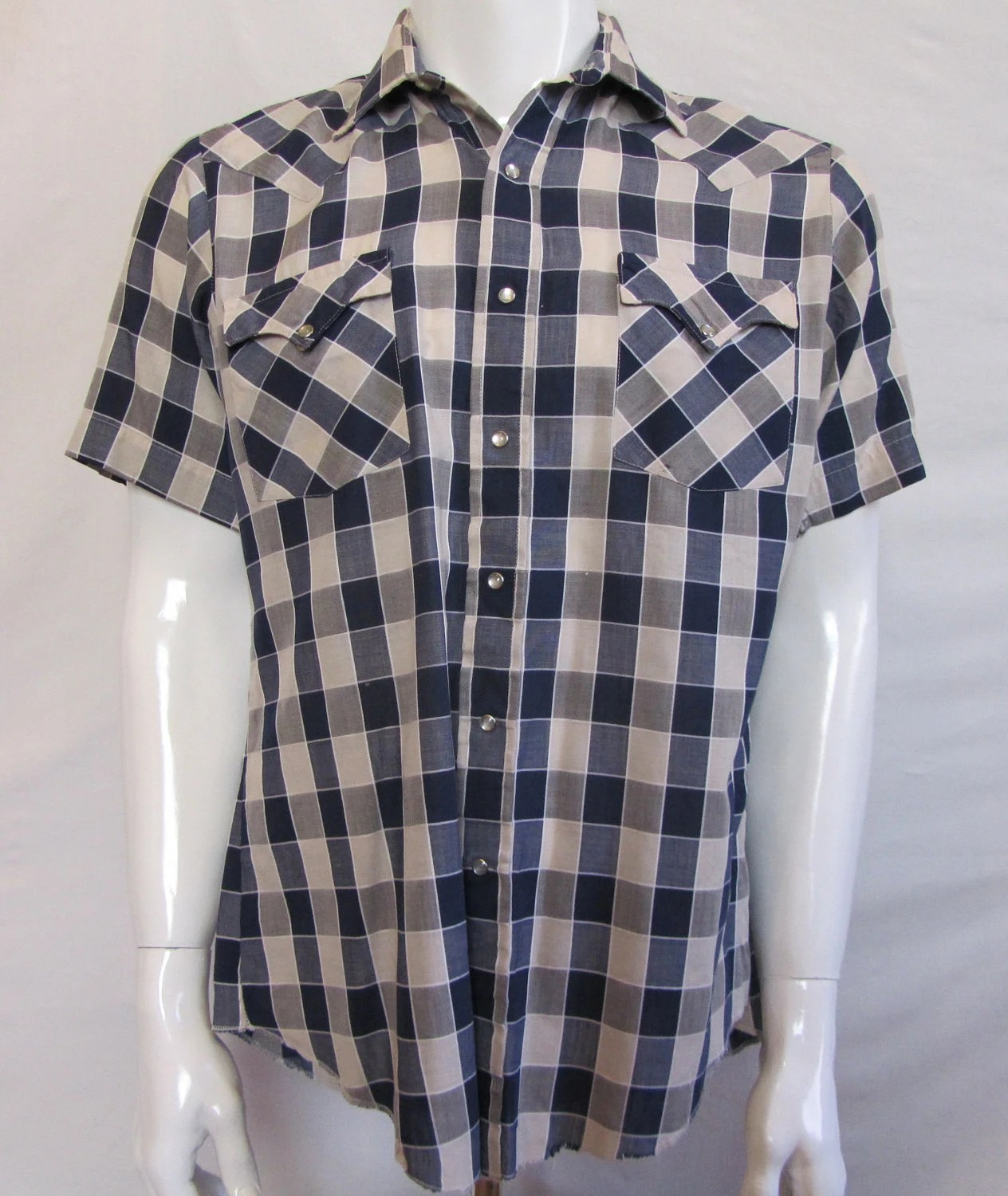 Mens MEDIUM cowboy shirt, Open Range, short sleeved, vintage, navy and beige gingham, pearl snaps