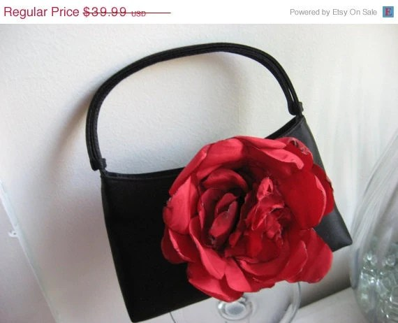 ON SALE Evening bag in black huge red handmade flower