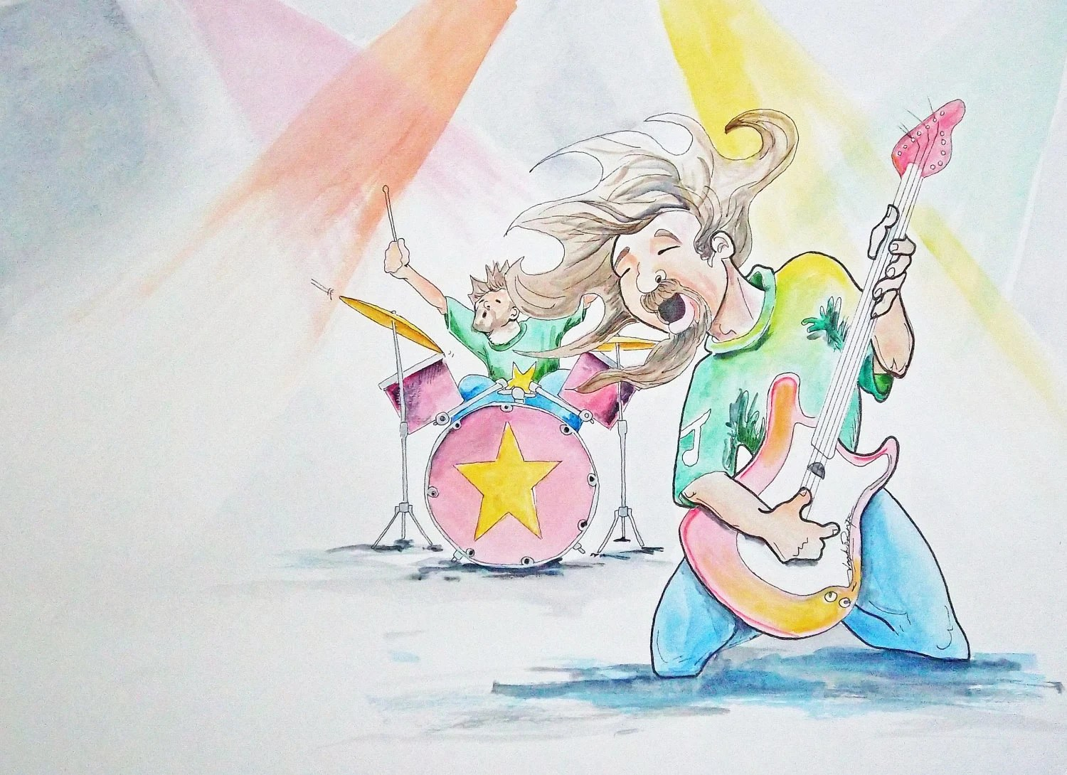 Original Watercolor Painting Page 12 13  from Children's Book Thunderful A rock-n-roll band that's WAY too noisy