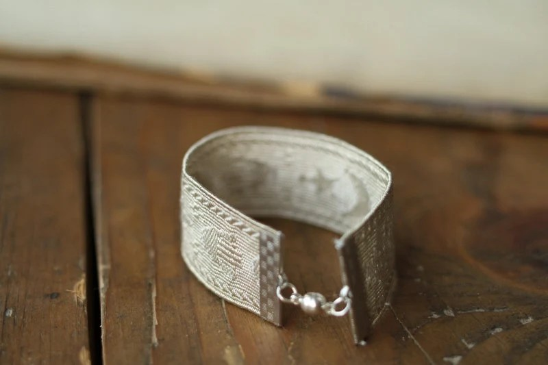 RESERVED FOR AUBREY Silver Antique Passementerie Trim Ribbon Bracelet with Moon and Star Motif