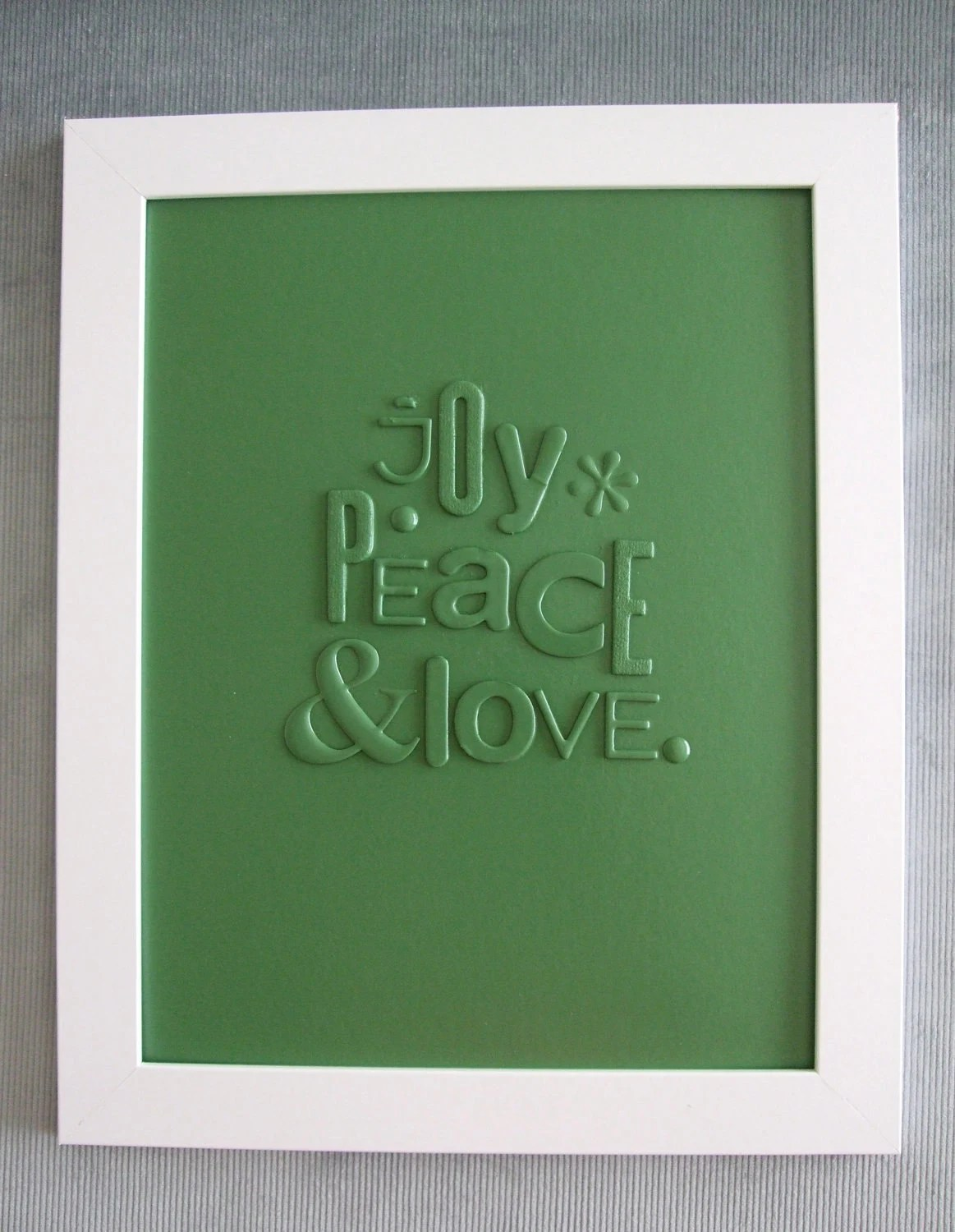 JOY PEACE & LOVE green typography collage