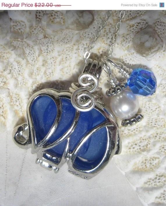 15% OFF SALE Elephant Sea Glass Necklace- Bold Cobalt Blue Sea Glass Locket plus Coupon