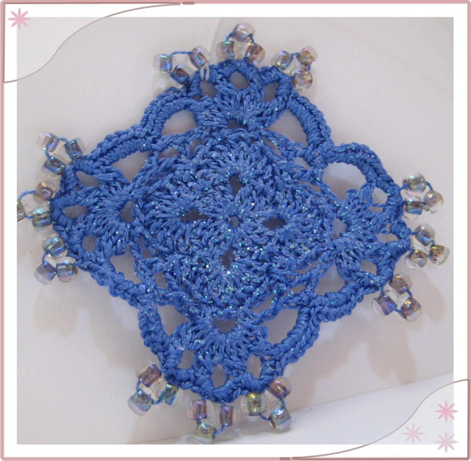Royal Blue Crochet Lace Hanging Beaded Ornament