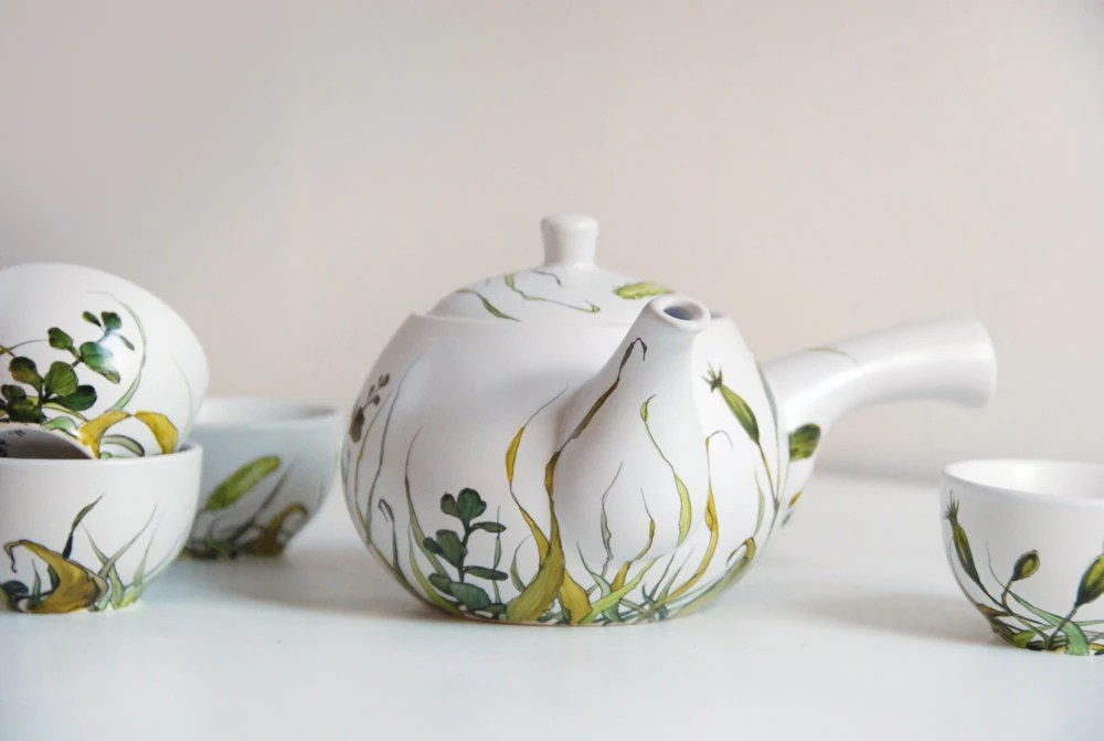 Hand Painted Ceramic Tea Set - Grass Fields Collection