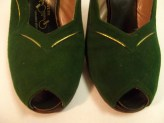 1940s Green Suede Shoes EMERALD Green and GOLD GODDESS Peep Toe Slingback High Heels