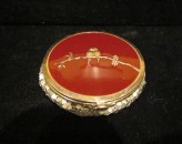 1930's Powder Compact, Evans, Red Enamel & Silver Mesh, Love Birds, Valentine's Day, LOVELY