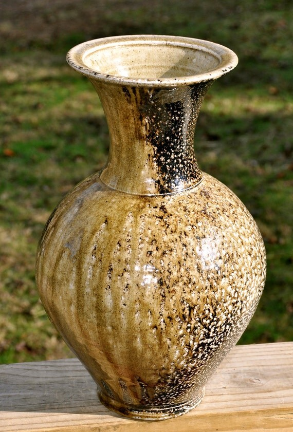 Beautiful Wide-Mouthed Wood Fired Flower Vase - So Functional