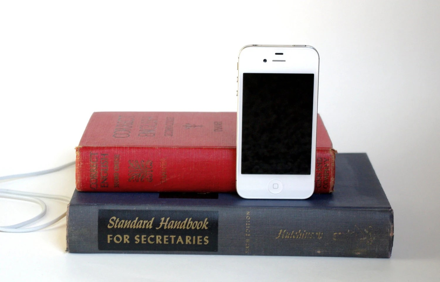 vintage book iphone charging dock