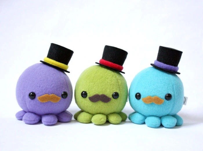 Moustache Octopus Plush w/ Top Hat - Choose Colors