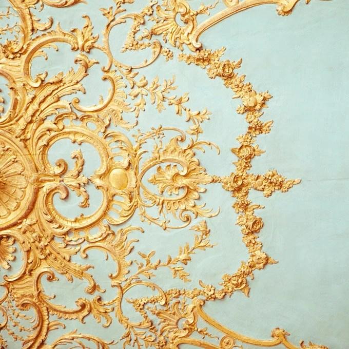 Folie - Paris Photograph, Versailles Detail, Romantic, Feminine, Robins Egg Blue, Gold, Home Decor