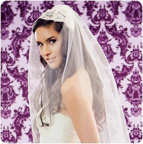 NEW 30 Inch Grande Lace Bridal Cap Wedding Veil