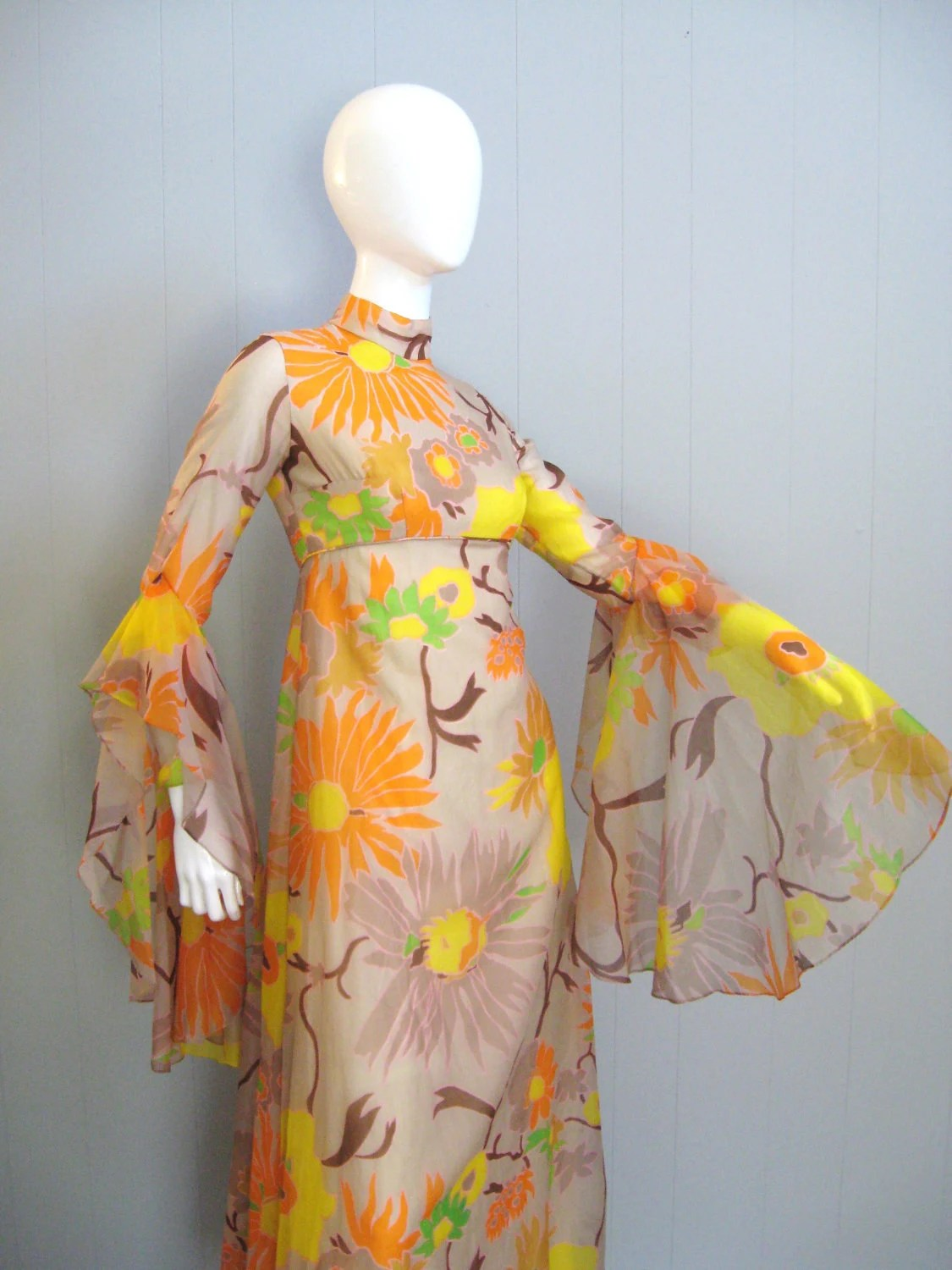 70s Vintage BELL Sleeve FLORAL CHIFFON Hippie Boho Maxi Dress