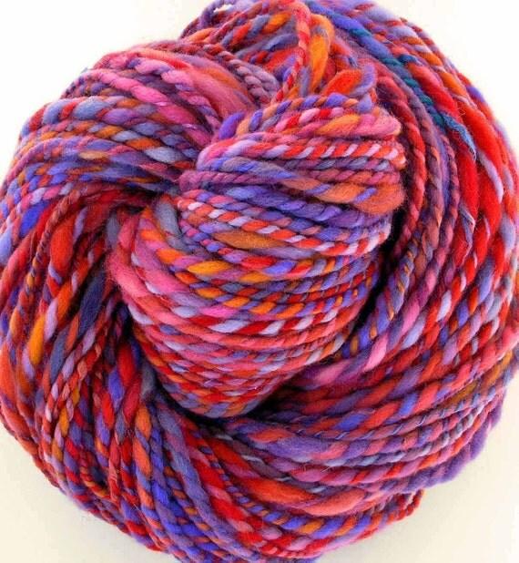 Handspun and Hand Dyed Merino Wool Silk  Bulky Yarn - Valentine