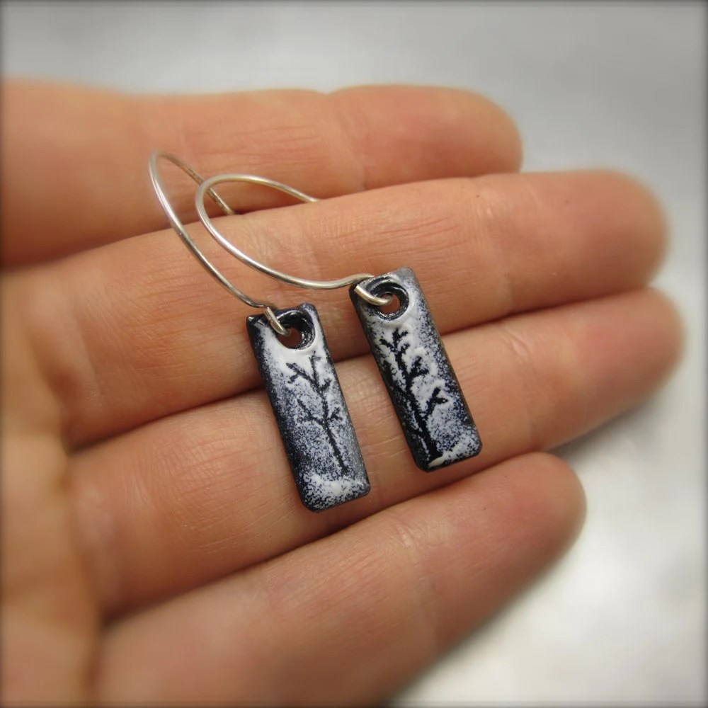 Enameled Little Long Tree Earrings by Beth Millner
