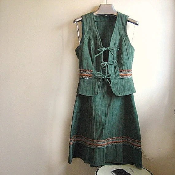 skirt and vest dress set vintage 1970s green