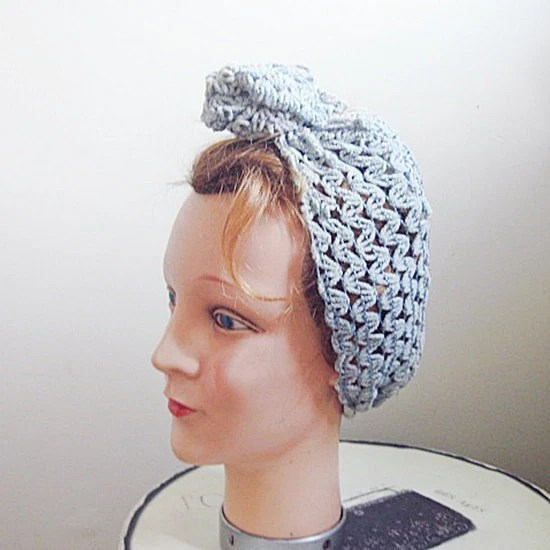 40s vintage blue hair snood head scarf turban land girls