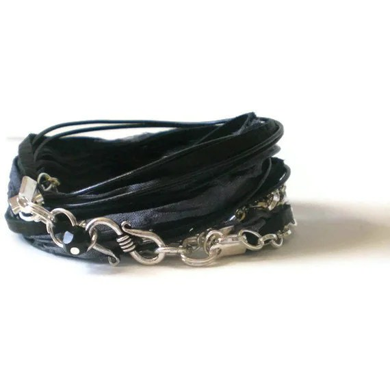 black wrap bracelet, black leather & suede, silver chain, grey silk ribbon, boho bracelet, triple wrap bracelet