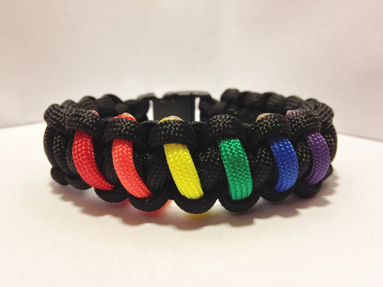 "Rainbow flag - PRIDE -  550 Paracord bracelet - 6""-10"" - please READ ENTIRE listing to ensure you are ordering the correct size"