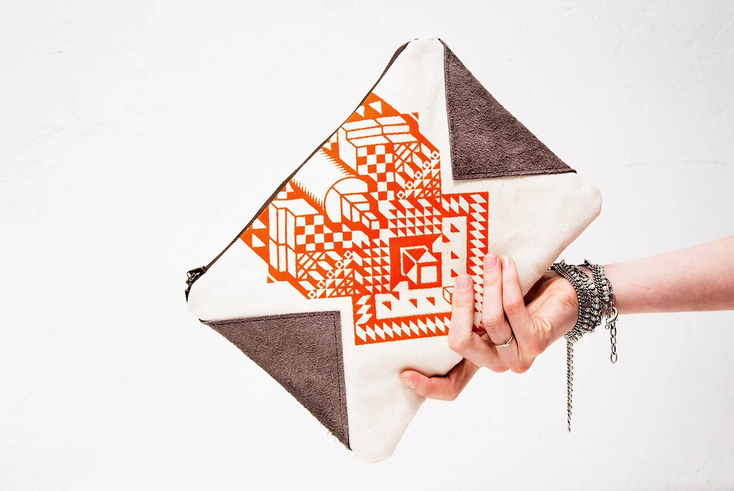 SALE Geometrical Illusion Printed  Leather Pouch  Tangerine