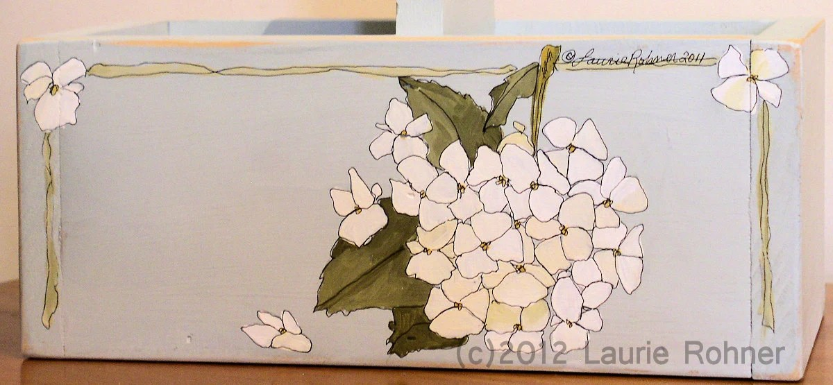 Painted Farmhouse Wood Tote Planter Cottage Chic Hydrangea
