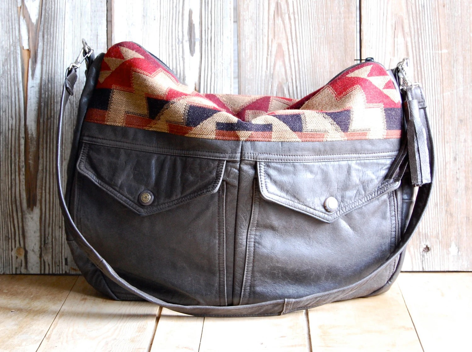 Tundra in Dark Brown Leather and Navajo Fabric