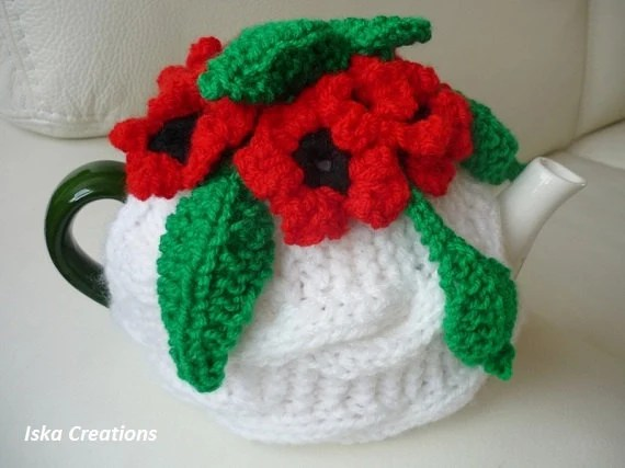Tea Pot Cozy, Knitted tea cosy, white color teapot cozy with red flowers, mothers day gifts by IskaCreations