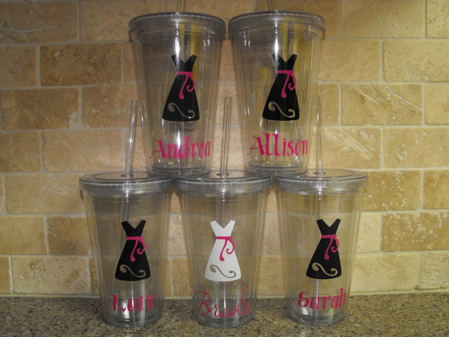 Four Personalized Bridesmaid gifts - 16 oz acryllic tumbler cups with straw and lid - wedding gifts - bride gifts - bridesmaid gifts