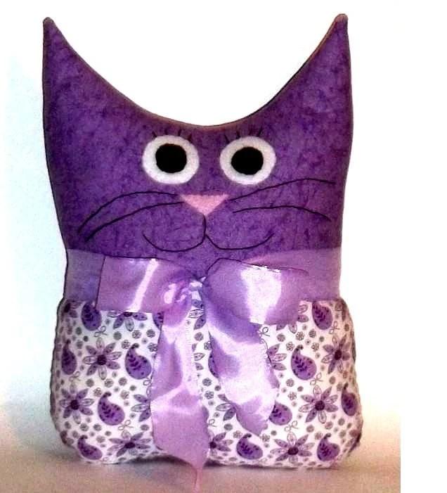 Cat Pillow Funny Cat in Purple