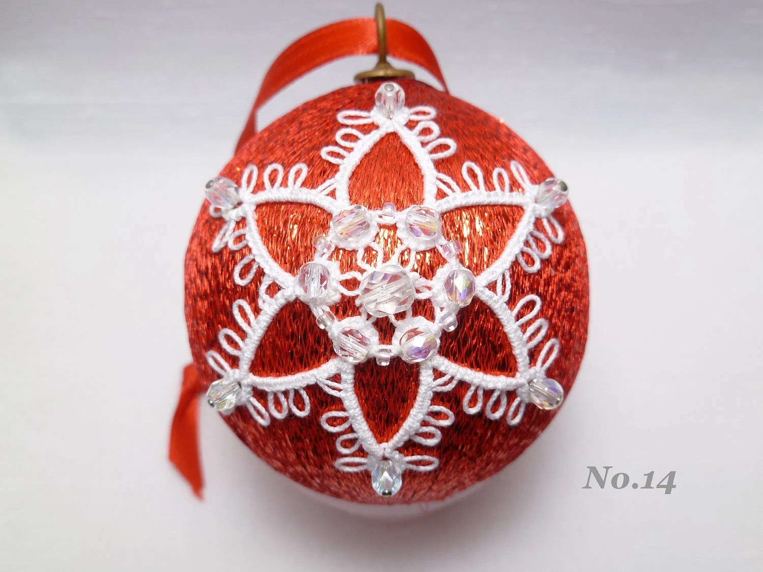 Handmade Christmas Ornament -Tatted Snowflake on Satin ball -Snowball No.14