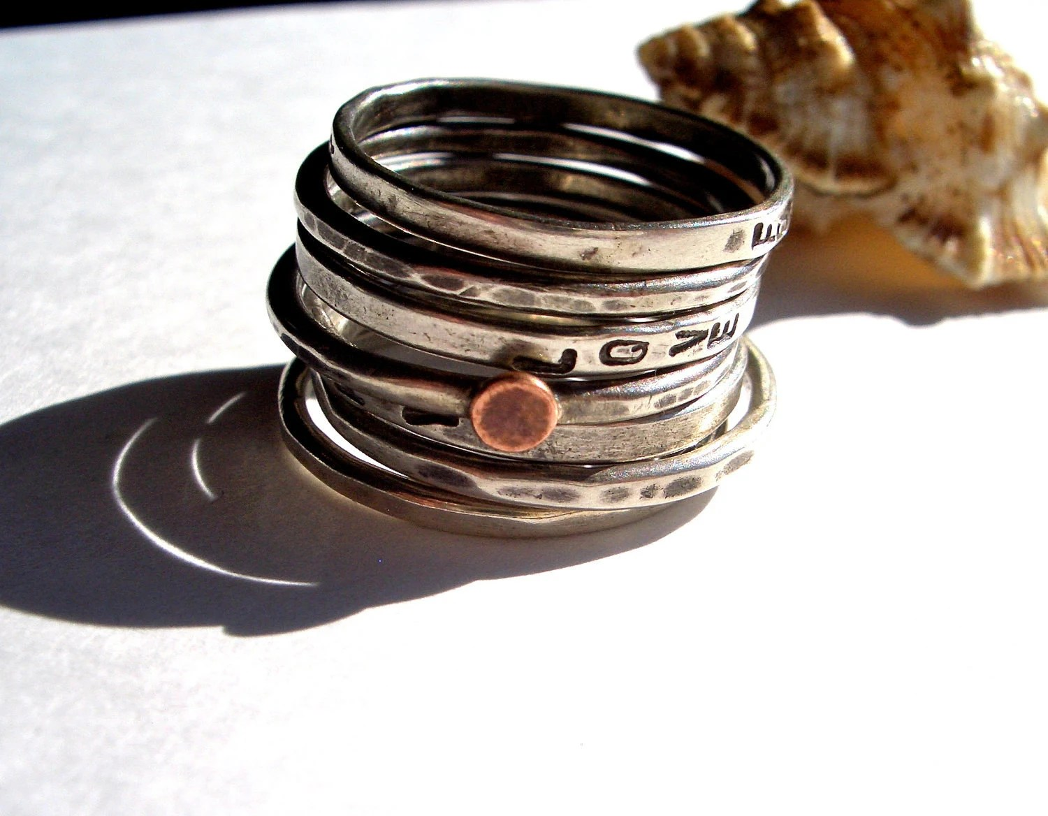 Lucky Seven:  Personalized Sterling Silver Stacking Rings