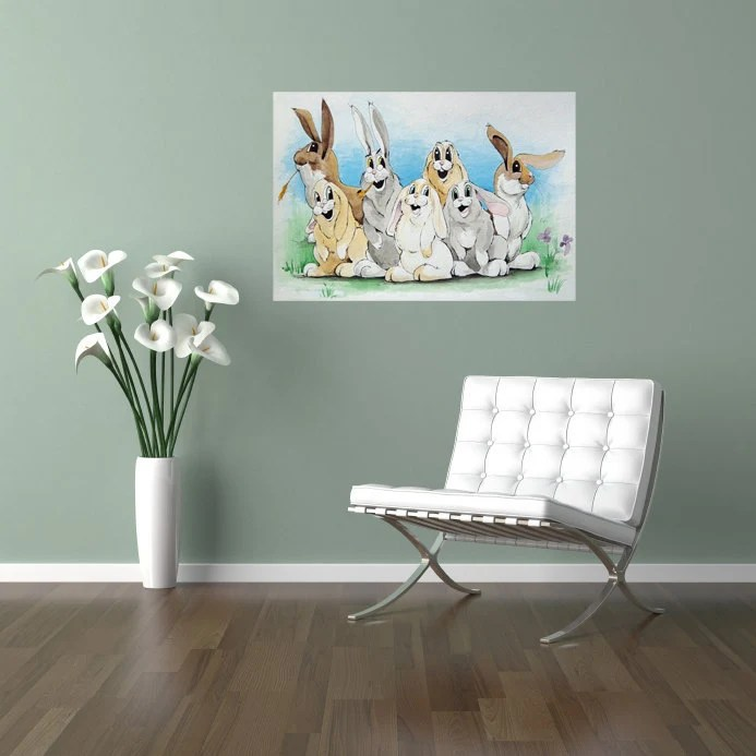 Bunny Family Illustrated Original Watercolor Painting Artwork Children Nursery 11x14 Wall Decor